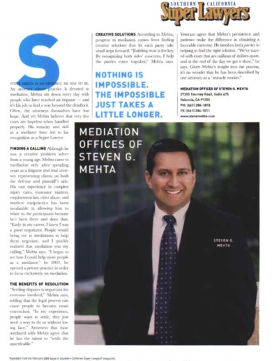 Super Lawyers Profile of Steven G. Mehta
